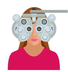 Optometrist examining woman with a trial frame in vector