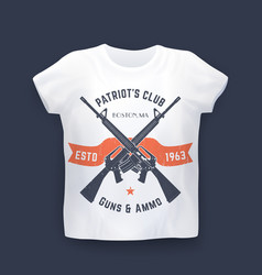 Patriots club print with guns assault rifles vector