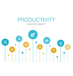 Productivity infographic 10 steps circle design vector