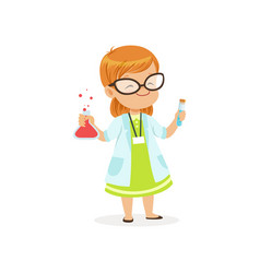 Red-haired child in white coat holding test tubes vector