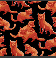 Repeated seamless pattern cute orange foxes vector