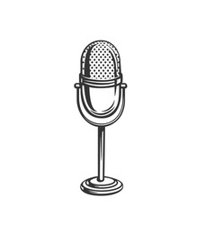 retro microphone outline icon vector image