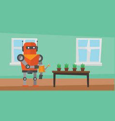 Robot housekeeper watering flowers vector