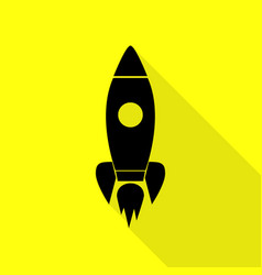 Rocket sign black icon with flat vector