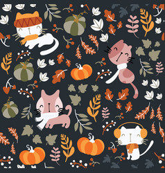seamless pattern autumn theme hand drawn vector image
