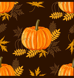 seamless pattern with autumn leaves and pumpkins vector image