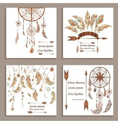 Set greeting cards ethnic style Dream Catcher vector