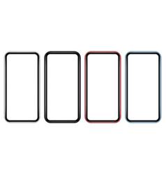 set modern colorful mobile phones mockups vector image