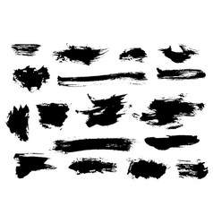 Set of bushy different black brushstrokes vector
