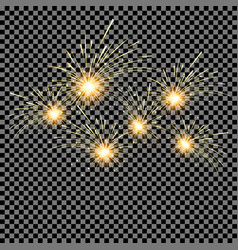set of fireworks on isolated background vector image