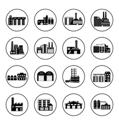 Set of industry manufactory building icons Plant vector