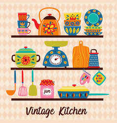shelves with vintage utensils vector image