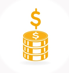 Stack of golden coins icon vector