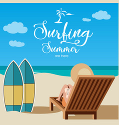 surfing summer beach background vector image