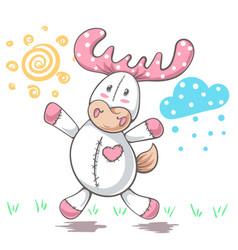 teddy deer love - cartoon funny vector image
