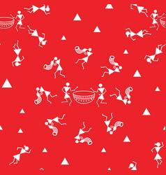 traditional warli art painting seamless pattern vector image