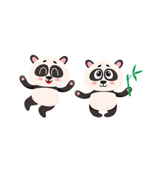 two cute happy baby panda characters with paws vector image
