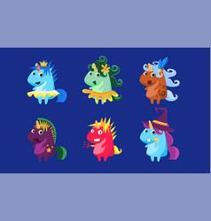 unicorns set cute fantastic animals characters in vector image