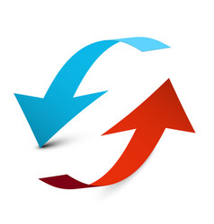 up and down arrows blue and red 3d arrow isolated vector image
