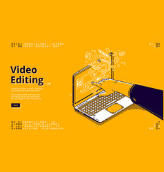 video editing isometric landing page movie making vector image