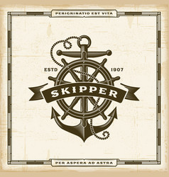 Vintage skipper label vector