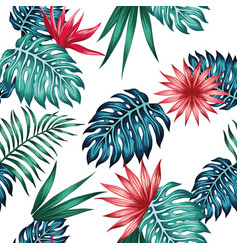 vivid tropical leaves flowers seamless white vector image