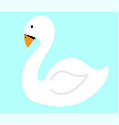 white swan on water flat vector image