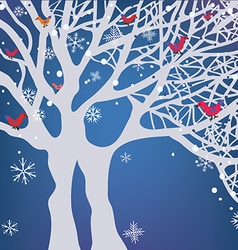 Winter Christmas background with tree snow and vector image