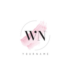 Wn w n watercolor letter logo design with vector