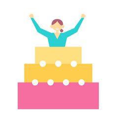 Woman jump out birthday cake at party icon vector