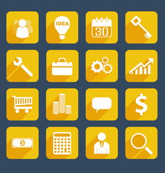 yellow business icons set vector image