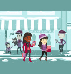 Young multiracial people during christmas shopping vector