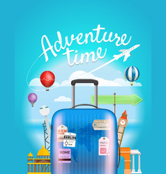adventure time travel with the handbag vector image vector image