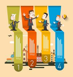 Company profile infographic four steps retro vector