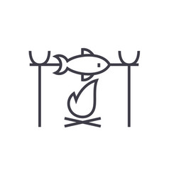 fish barbecue on fire camping line icon vector image vector image