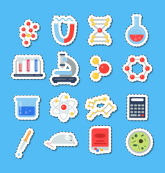 flat style science icons stickers with vector image vector image