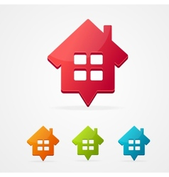 home icon pin set isolated on white vector image vector image