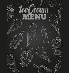 ice cream menu cover - blackboard ice cream poster vector image vector image