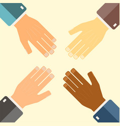 teamwork concept hands connecting vector image