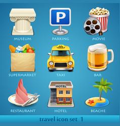 travel icon set-1 vector image vector image