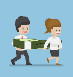 business people carrying pile of dollars money vector image vector image
