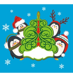 Christmas card with cute penguins vector image vector image