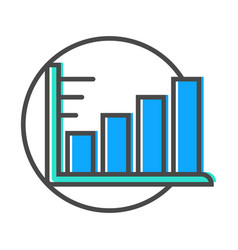 Data stream icon with diagram sign vector