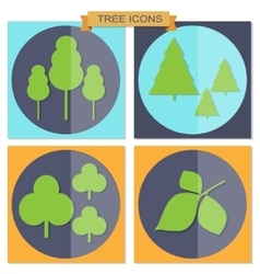 Set of flat tree icons vector image