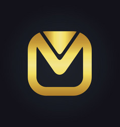 square letter m gold logo vector image vector image