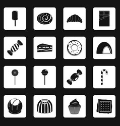 Sweets and candies icons set squares vector