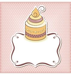 Cute cupcake frame vector image