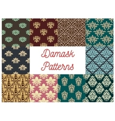 Damask flowery ornate seamless patterns set vector image vector image