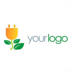 eco electric energy logo vector image vector image