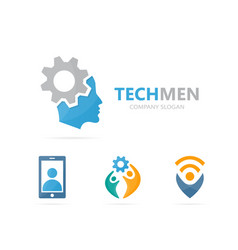 man and gear logo combination face and vector image vector image